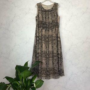 Eliza J Snakeskin Print Pleated Chiffon Maxi Dress